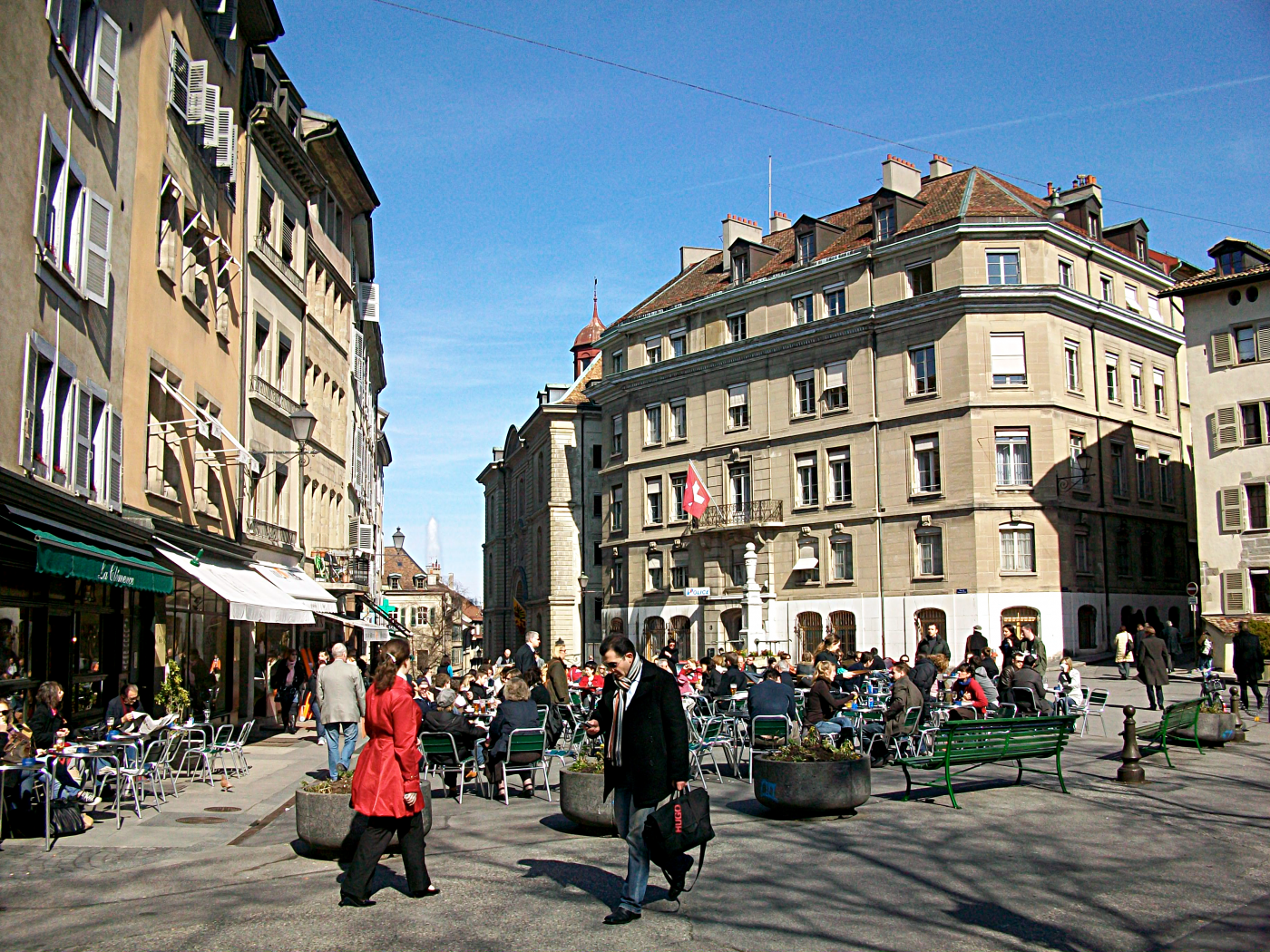 Geneva plaza with cafes