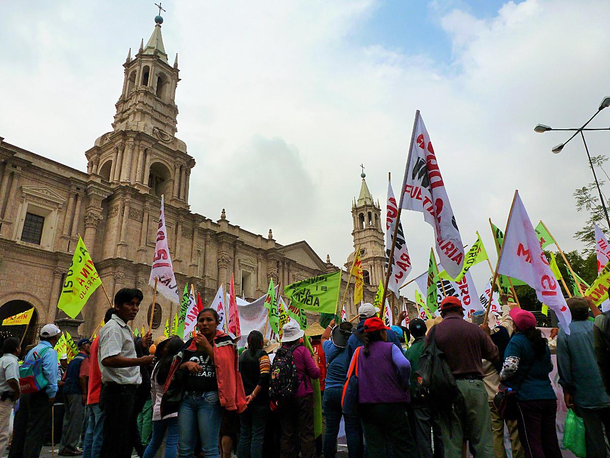 Protestors in Arequipa, Peru